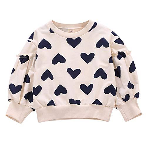 Gyratedream 1-7T meisjes-hart-bedrukking sweatshirts casual peuter-blouses lange mouwen bovenkleding 110 zwart