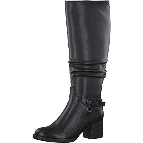 Tamaris Damen Stiefel 25563-31,Frauen Boots,Lederstiefel,Reißverschluss,Blockabsatz 6cm,Black,EU 40