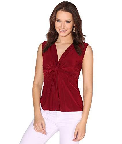 KRISP Top Mujer Original Elegante Camiseta Fruncido Blusa Tallas Grandes Camisa Fiesta, (Burdeos (7489), M), 7489-WIN-M