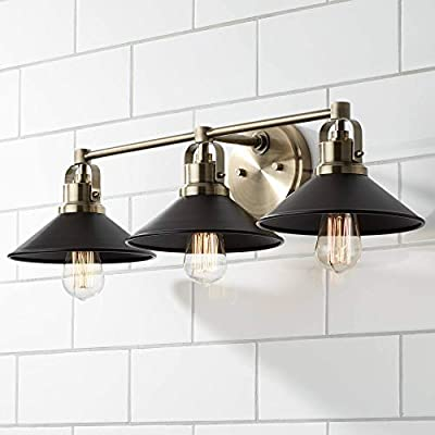 """Clive Industrial Wall Light Antique Brass Hardwired 27"""" Wide 3-Light Fixture Black Shade for Bathroom Vanity Mirror - Possini Euro Design"""