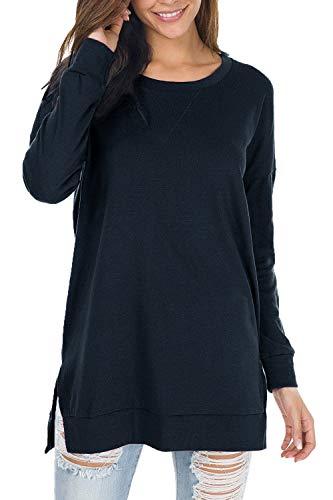Yidarton - Sudadera casual de manga larga para mujer, con cuello redondo, holgado, para mujer