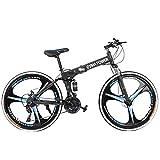 Folding Bike Mountain Bikes Adult Bike Trek Bike Dual Suspension High Carbon Steel 21 Speed Mountain Bike Disc Brakes 26 Inch Mountain Bike Men/Women Cruiser Bike (Blue)