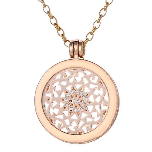 Morella Damen Halskette Gold 70 cm Edelstahl mit Amulett und Coin 33 mm Sonnenornament in Schmuckbeutel