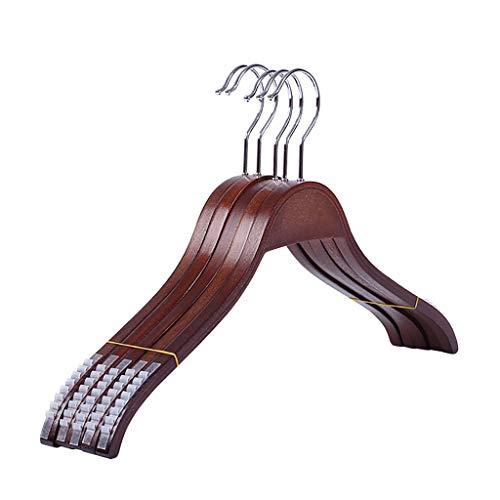 Yue hoogwaardige kleerhanger van hout, (pak van 10 stuks) met schouder anti-slip strepen