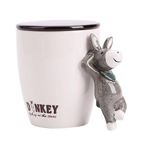 UPSTYLE 3D Cute Cartoon Animal Keramik Kaffee Milch Tasse Tee Tasse mit Deckel und Griff Größe 14.8oz (440ml), keramik, Esel, 14.8 oz