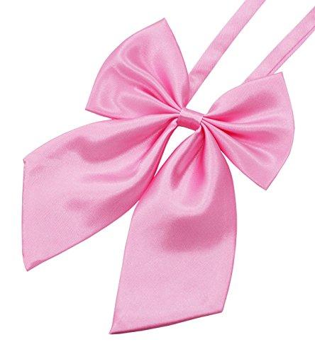 GZZOU Women BowTie, Ladies Girls Fashion Solid Color Pre-Tied Silk Bow Necktie (Pink)