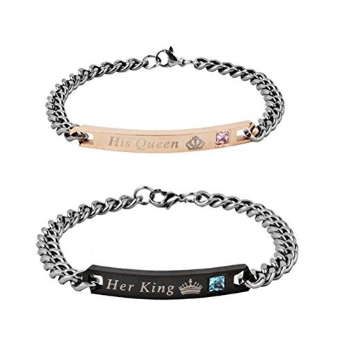 'luoem 2pezzi Coppia di bracciali, bracciale in acciaio inox a maglia con incisione regali per Geliebte–'His Queen' e Her King '