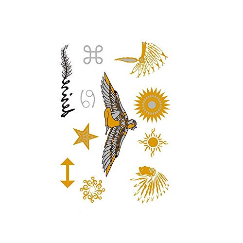 Autocollants de tatouage bronzage rétro autocollants de tatouage imperméables ensemble autocollants d'impression de couleur argent chaud-YH-072_148 * 210MM