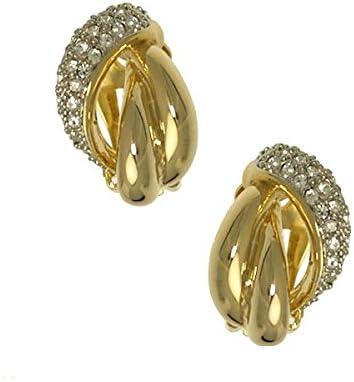 Laina Gold tone Crystal Clip On Earrings