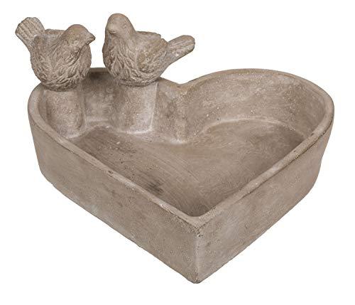 Bain d'oiseau, Coeur, env. 20 x 4 cm, 2 Oiseau, env. 6 cm, en Ciment