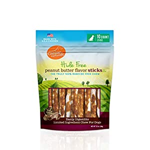 Canine Naturals Natural Peanut Butter Chew – 5″ Stick – 10 Pack | 100% Rawhide Free and Collagen Free Dog Treats | Made with Real Peanut Butter | All-Natural and Easily Digestible