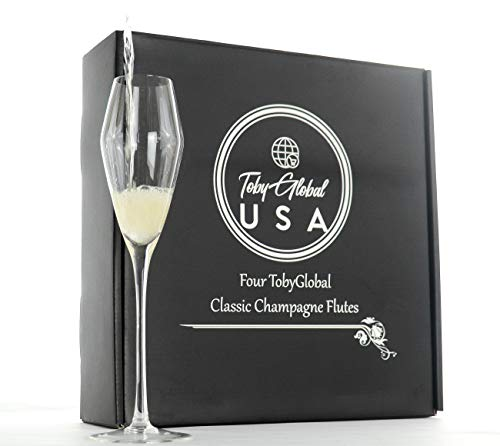 Elegant Set of 4 Champagne Flutes, Stunning Tulip Design. Highest Quality Lead Free Crystal Hand Blown Glasses. Quality glass. Perfect Gift Set.For the enjoyment of Prosecco, Champagne, Sparkling Wine
