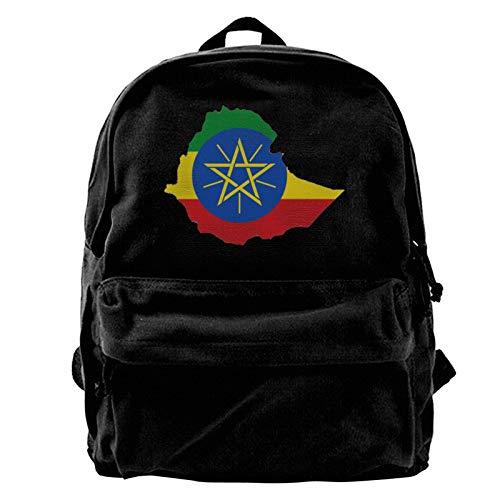 Best Ethiopian Flag Men Women Boy Girls Backpack Bag Cotton Running Adjustable Strap Hip Bum Black