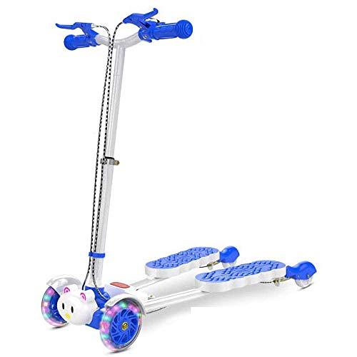 SCJ Bubble Scooter aus hochkohlenstoffhaltiger Stahllegierung mit 4 LED-Rädern, Blauer Faltbarer Fliker-Scooter für Jungen/Mädchen/Kinder