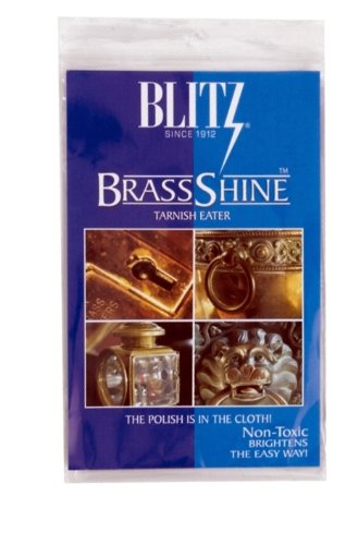 Blitz Brass Copper Tarnish Eater Shine Cleaner Cloth - No Messy Paste or Odor - Shower Head Faucet - OEM Authentic
