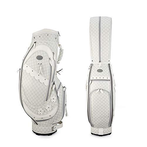 Yamyannie Golftasche Exquisite Gesticktes Damen-Golf Stand Bag Leicht Golf Travel Organizer Weiß Golf Tragetasche for Frauen Mädchen Tragebags (Color : White, Size : As Shown)