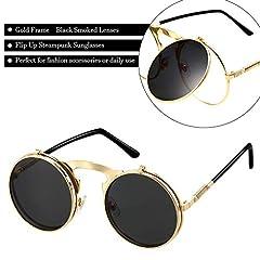 Flip up Steampunk Sunglasses Black Gothic Round Retro Hippy Specs for Men Women #2