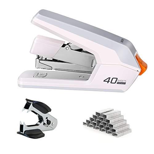 Deli Effortless Desktop Stapler, 40-50 Sheet Capacity, One Finger Touch Stapling, Easy to Load Ergonomic Heavy Duty Stapler, Includes 1500 Staples and Staple Remover