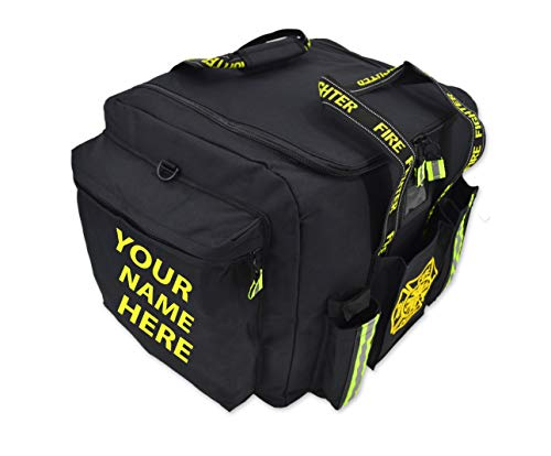 Lightning X Customizable Padded XL Step-In Turnout Gear Bag w/Shoulder Strap, Operations Pockets + Embroidered Name - BLACK