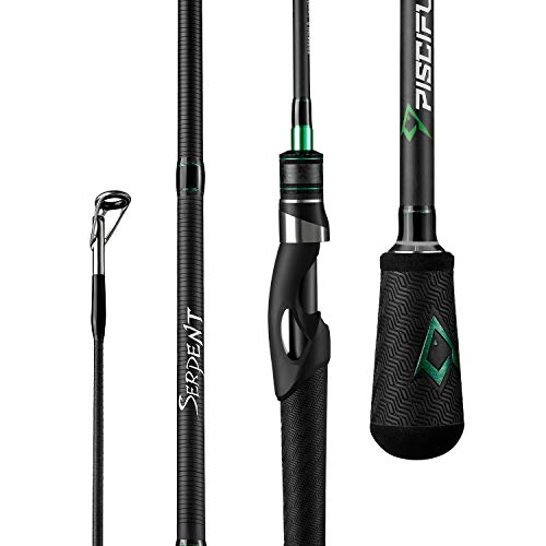 """Piscifun Serpent Spinning Rod One Piece- Fuji Line Guides, IM7 Carbon Fishing Rod Blanks Durable Sensitive Spinning Fishing Rods (6'6"""" UL F 1PC)"""