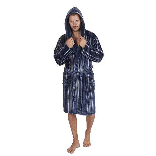 Unbekannt Herren-Bademantel aus weichem Fleece, dick und warm, mit Kapuze, Nicht mit Kapuze Gr. Medium, Blue/Navy Stripe - Hooded Gown