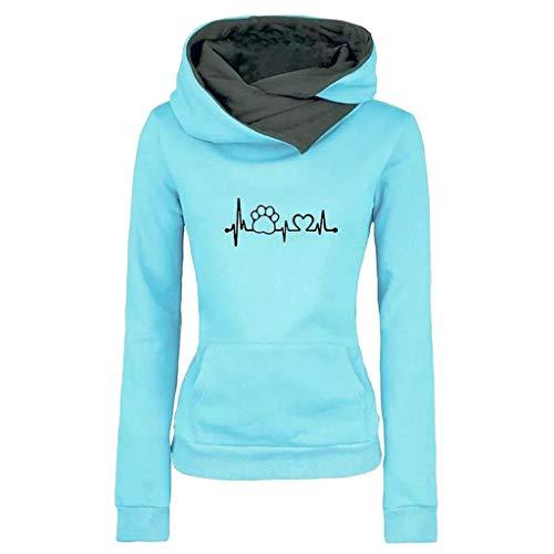 TOPKEAL Mode Damen Hoodie Herbst Winter Pile Kragen Pullover Langarm Kapuzenpullover Sweatshirt mit Taschen Frauen Lässig Drucken Tops (C_Blau, XXL)