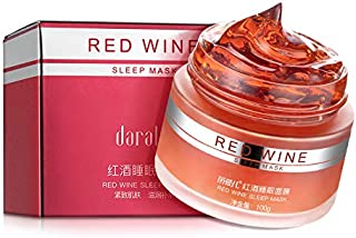 Daralis Red Wine Sleep Mask Hydro Sleeping Pack Super Moisture Wash Free Smooth Face Mask Skin Care, 100g