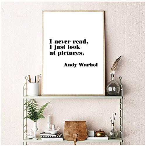A&D Andy Warhol Inspirierende Zitate Drucke Motivationsplakat Wandkunst Leinwand Malerei Schwarz und Weiß Bild Home Wall Decor-50x70cmx1pcs-No Frame