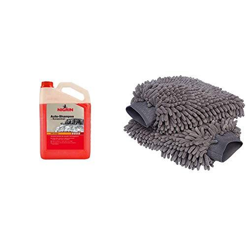 Nigrin 72985 Auto-Shampoo Konzentrat 3 Liter & AmazonBasics Deluxe Auto-Waschhandschuh, Mikrofaser, 2 Stück