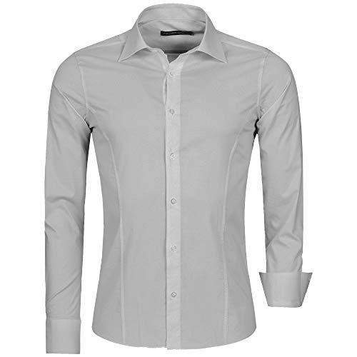 Redbridge Herren Hemd Slim Fit Business Hochzeit Freizeithemd Langarm Bügelleicht R-2111 (S, Grau (Grey))