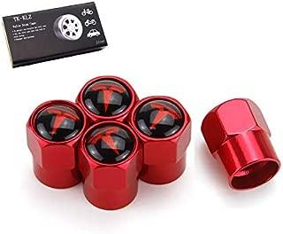 TK-KLZ 5Pcs Car Wheel Tires Valve Stem Caps for Tesla Roadster Model S Model X Model 3 TESLASUV Decorative Accessories (Red)