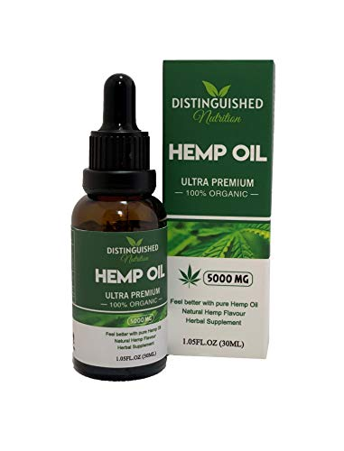 Premium Hemp Seed Oil, 100% Organic, 5000mg Great for Severe Pain Anxiety and Sleep Support, Rich in Omega 3, 6 and 9, Rich in Vitamin D High Strength,100%, by Distinguished Nutrition