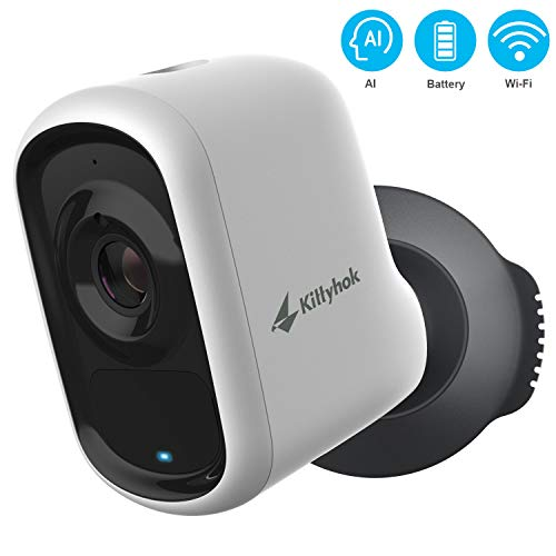 Wireless Outdoor Security Camera with AI Detection, Kittyhok 1080P Rechargeable Battery Powered WiFi Home Security System/Siren Alarm, 2-Way Audio, Night Vision, Weatherproof, Micro SD/Cloud Storage Bullet Cameras