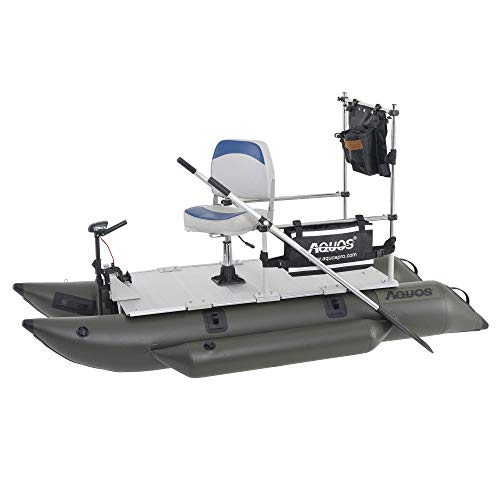 AQUOS 2021 New Backpack 8.8 ft Inflatable Pontoon Boat with Guard Bar, Folding Seat and Haswing 12V 20LBS Bow Mount Trolling Motor for Fishing, Aluminum Floor Board