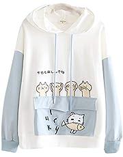 Meisjes Dames Kawaii Japanse alfabet Cat Print lange mouwen Hoodie met kangoeroezak
