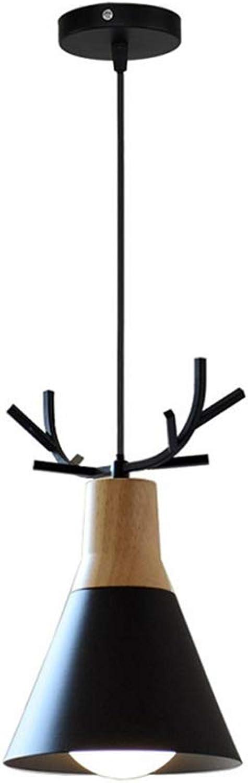MJCDNB Geweih Lampe Kronleuchter, Nordic Restaurant Einzelkopf Deckenleuchte Holz mit Schmiedeeisen Pendelleuchte mit E27 Lampensockel Forliving Room Esszimmer Küche Cafe