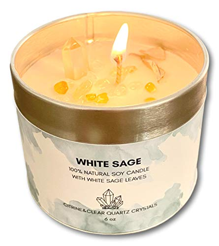 White Sage Candle with Citrine Quartz Crystals 100% Natural Soy Smudge (Sage)