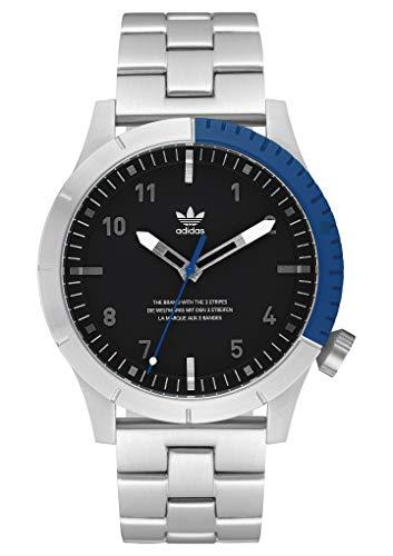 adidas Relojes Hombre Cypher_M1. Pulsera De Acero Inoxidable Sólido 3 Enlace, 22 Mm Anchura (0,42 Mm) Plata/Negro / Azul