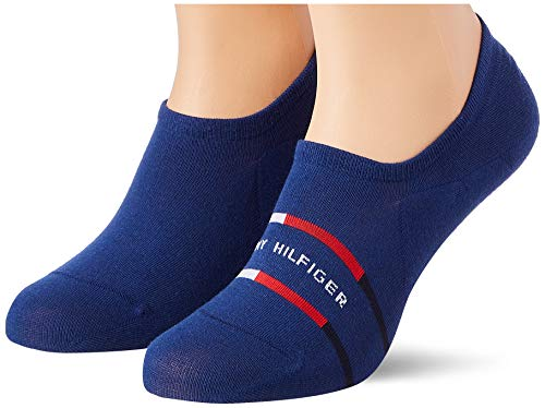 Tommy Hilfiger Breton Stripe Men's Footie Socks (2 Pack) Calcetines, Blue Depths, 39-42 para Hombre