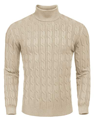 COOFANDY Men's Slim Fit Turtleneck Sweater Casual Twisted Knitted Pullover Sweaters (X-Large, Light Khaki)