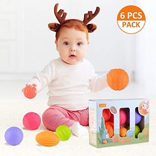 EKKONG Baby Sensorisches Spielzeug ab 0 3 6 12 Monate, 6PCS Softbälle Buntes Greifball Squeeze Bälle Bausteine Weiches für Kleinkinder, Pädagogisches Spielzeug Badespielzeug für 0-3 Jahre (Sportball)