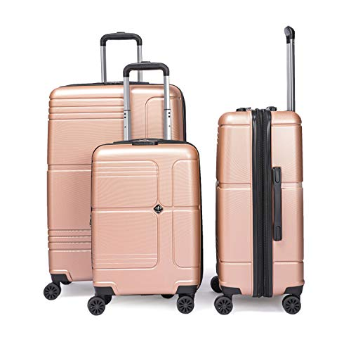 LYS – Koffer-Set, ausziehbar, Trolley, 55 – 66 – 76 cm, mit 7 cm, sehr leicht, 4 Räder gefüttert, ABS Hartschale Roségold S-M-L