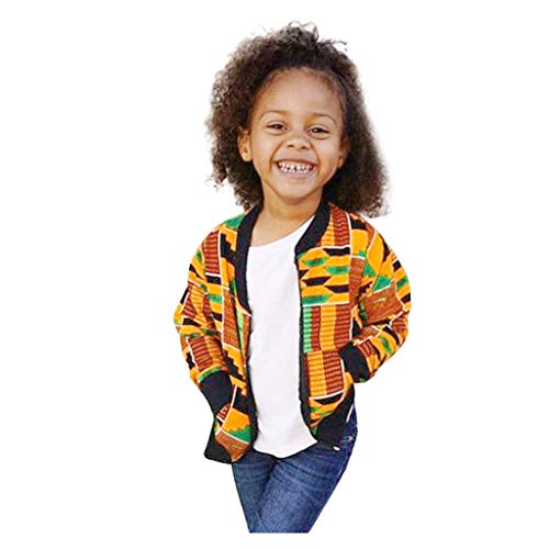 Jacke Kinder Mädchen Junge Bomberjacke Herbst Übergangsjacke Afrikanischer Winddichter Mantel Warme Outwear Softshell Jacke, Gelb, 3-4 Jahre