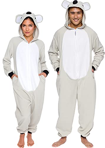 Silver Lilly Slim Fit Animal Pajamas - Adult One Piece Cosplay Koala Costume (Grey/White, Large)