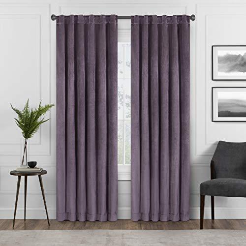 """ECLIPSE ABZ Harper Velvet Rod Pocket Curtains for Bedroom, Single Panel, 50"""" x 84"""", Plum"""