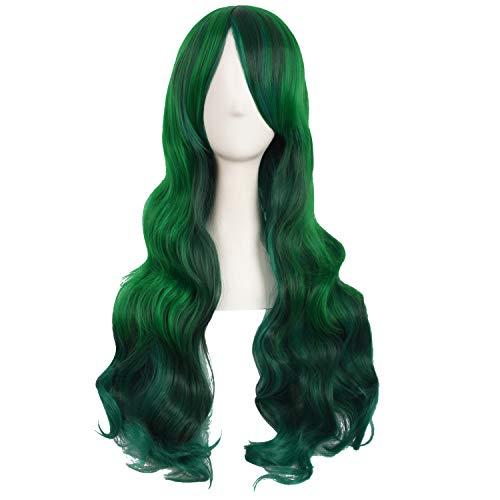 MapofBeauty 28 Inch/70 cm Beautiful Long Wavy Harajuku Style Cosplay Side Bangs Wigs (Lake Green/Grass Green)