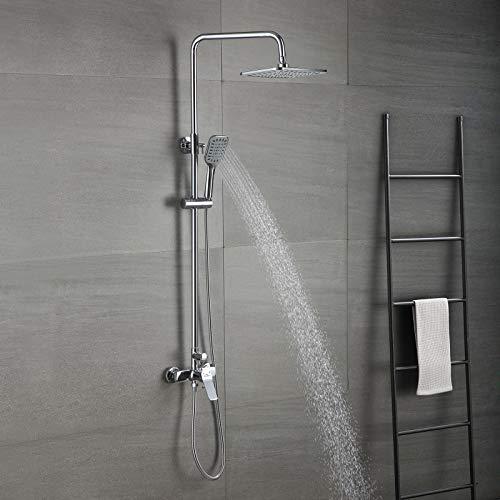 Auralum Columna de ducha con grifo Monomando, Set de ducha Completo con Mezclador Aceros inoxidables 25 X 20 CM Alcachofa ducha Lluvia y Ducha de Mano. Sin Termostato