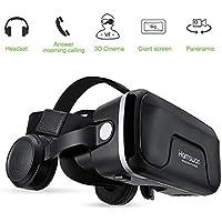 HAMSWAN Gafas de Realidad Virtual con Auriculares, [Regalos] 3D VR Googles con Auriculares Incorporados, Visión de 360 Grados, FOV Botón, Multifunción para Los Móviles de Pantalla 4.0-6.0 Pulgadas