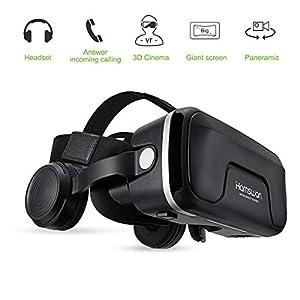 """HAMSWAN 3D VR Brille Virtual Reality Brille mit eingebautem Headset 120 Grad FOV und Multifunktionsknopf Kompatibel mit iPhone, Samsung und Anderen 4.0""""-6.0"""" Smartphones"""