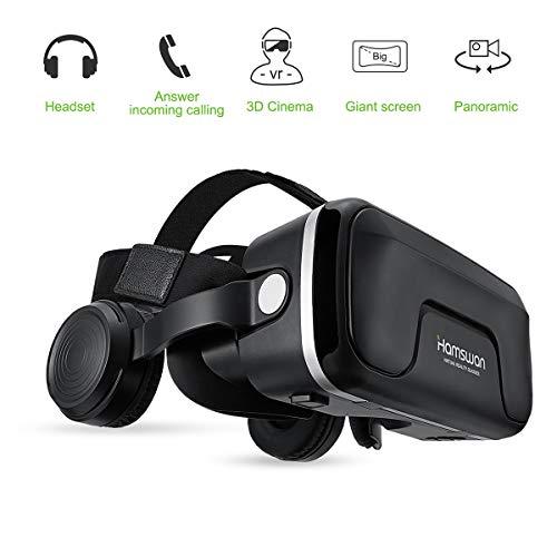 HAMSWAN 3D VR Brille Virtual Reality Brille mit eingebautem Headset 120 Grad FOV und Multifunktionsknopf Kompatibel mit iPhone, Samsung und Anderen 4.0
